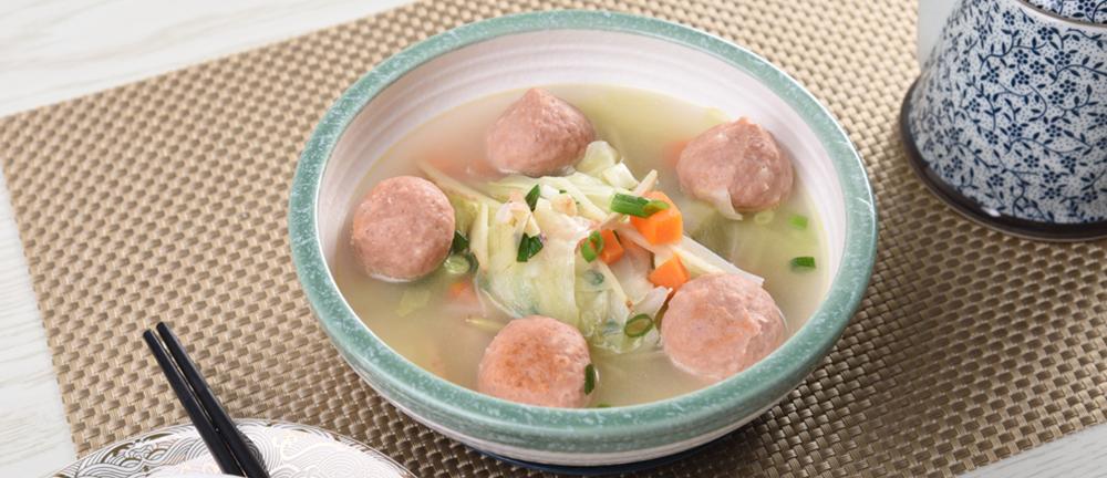 麻婆豆腐爆漿魚丸青菜湯